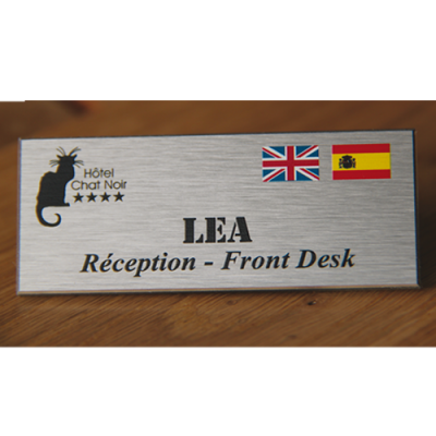 Name badge with function + flags